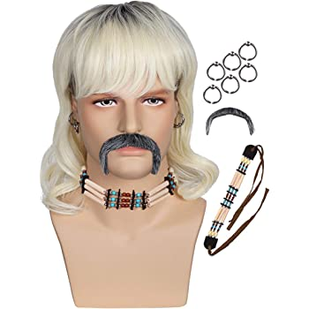 Blonde Wig With 6 Earrings and Necklace and Mustache for Theme Party