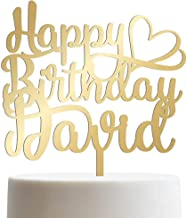 Happy Birthday Heart Personalized Name Birthday Cake Topper Customized Birthday Cake Topper With Name | Mirrored Cake Toppers