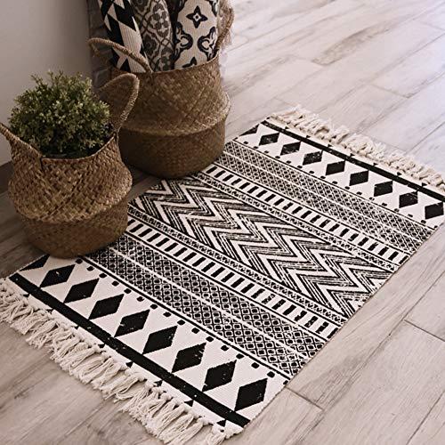 OUTGYM Cotton Area Rug Modernes geometrisches Weicher Teppich mit handgewebter Quaste Indoor-Teppich für Wohnkultur Küche Schlafzimmer im böhmischen Waschbar Leicht zu reinigen Bodenfreundlich 2' x 3'