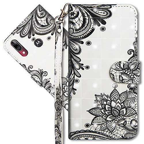 MRSTER Moto E6 Plus Handytasche, Leder Schutzhülle Brieftasche Hülle Flip Hülle 3D Muster Cover mit Kartenfach Magnet Tasche Handyhüllen für Motorola Moto E6 Plus. YX 3D Lace Flower