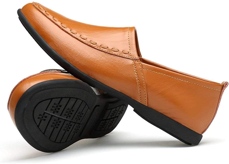 2018 Men's New Loafer Flats, Men's Real Leather Mocasins Anti-Slip Collar Suede Insole Slipper, Dark Brown, 4.5 UK (color   Light brown, Size   UK-size 5)
