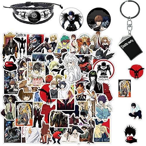 Death Note - Pack de 50 pegatinas de anime, llavero, pulsera, insignias para amantes del anime, pegatinas de vinilo impermeables para portátil, botellas de agua, ordenador, teléfono