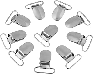 Durable Metal Suspender Braces Pacifier Clips Holder Leather Craft for DIY Making Repair Parts Accessory - Silver(25mm)