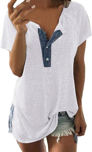 YanHoo Tops de Mujer Camiseta de Manga Corta con Botones para Mujer Las Mujeres de Manga Corta Suelta botón Informal Blusa Camiseta Tank Tops Manga ...