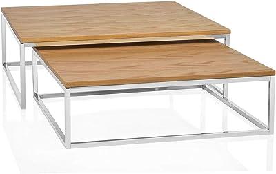 Andrea House MU15217 S.2 CD-Table Chêne Clair 70 X 70 X 22/80 X 80 X 27