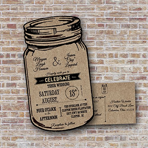 Kraft Mason Jar Wedding Invitations, Rustic Wedding Invitations,Country Wedding Invitations, Western wedding invitations, personalized wedding invitations (Sold in sets of 10)