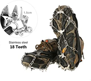 V.one Crampons, 18 Teeth Spikes Footwear with Stainless Steel Chain, Anti-Slip Silicone Snow Traction Cleats with Velcro Straps for Boosts/Shoes, Ice Gripper for Outdoor Walking/Climbing/Hiking