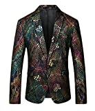 MOGU Mens Fashion Printed Unique Blazers Sport Jacket US Size 40 (Asian Size 4XL/58) Print