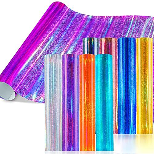 Hojas de vinilo holográfico 10 juegos, Ohuhu 30 × 30cm Hojas de pegatinas de vinilo brillante 8 juegos + 2 cintas de transferencia, fiesta, boda, coche, decoración de bricolaje