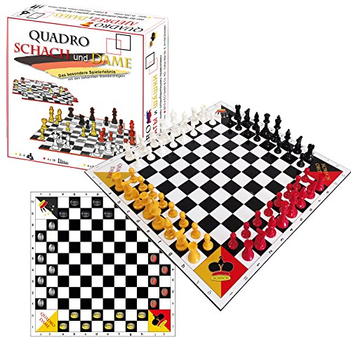 SchachQueen QuadroChess and Checkers - Ajedrez y Damas para 4 personas