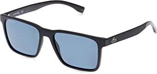 Lacoste Rectangular Petit Pique Matte Black Sunglasses For Men 57-17-145mm