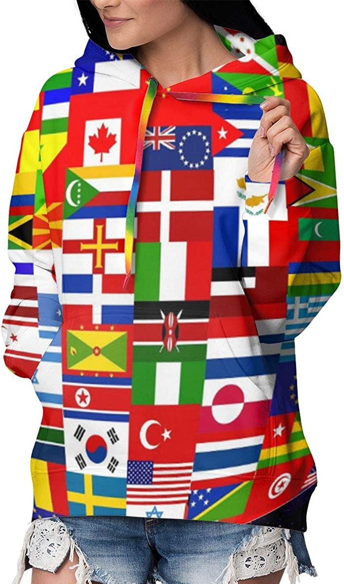 World Global Country Flag Women's Hoo store Fleece Pullover Direct stock discount Lining Fur