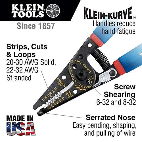 Klein Tools 11057 Wire Cutter / Wire Stripper, Heavy Duty Wire Cutter Stripper for 20-30 AWG Solid Wire and 22-32 AWG Stranded Wire