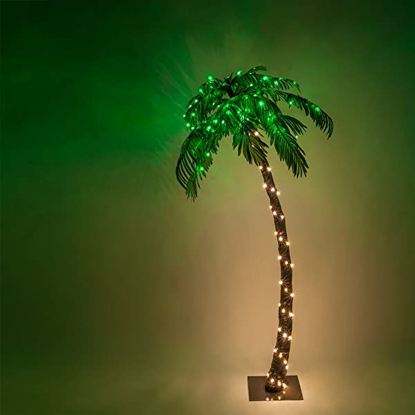 Kringle Traditions 10 Function LED Lighted Palm Tree Pre Lit Palm Tree Indoor Outdoor Remoted Controlled With Timer 6 Ft