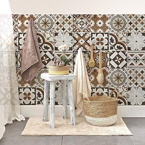 54 Piezas Azulejo Adhesivo 10x10 cm PS00210 Mosaico de Azulejos Adhesivo de Pared Adhesivo Decorativo para Azulejos de Cemento para baño y Cocina Adhesivos de Cemento pelar y Pegar