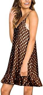 Sexy Dresses for Women,Women Sexy V-Neck Sleeveless Sling Dot Printed Ruffled Hem Loose Mini Dress
