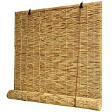 T&P Roll-up Reed Shade, Natural,(Privacy & Natural Woven) Roller Blinds-Bamboo Shades-Reed Curtain,Sunshade/Heat Insulation,for Outdoor/Patio/Door/Window Decorative Curtains(20x25in) Multiple Size