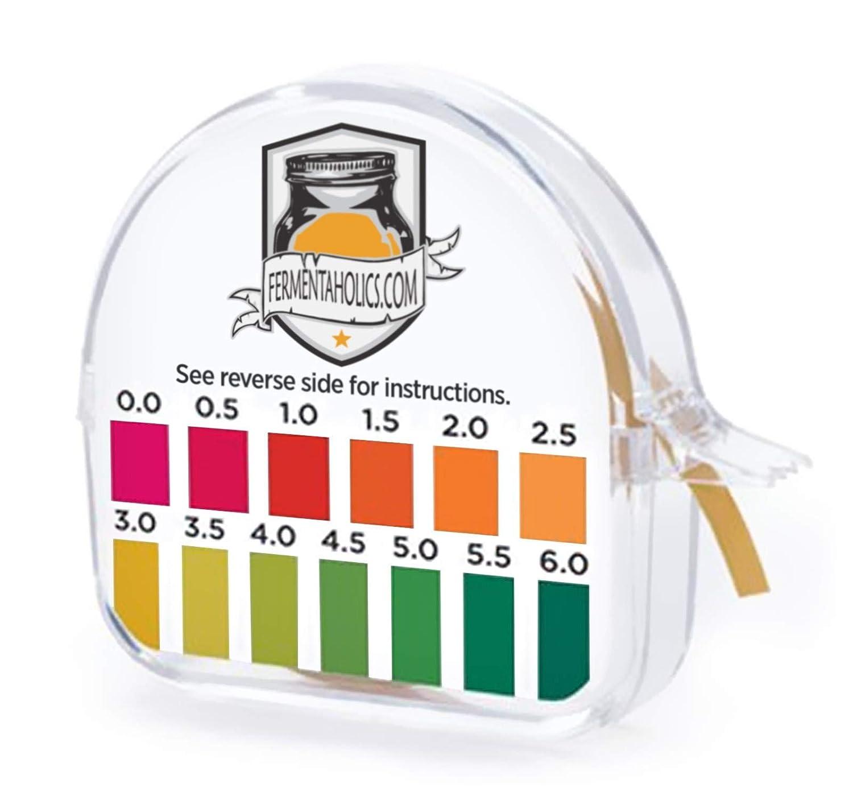 Kombucha Instant Read pH Strips Dispenser - pH Range 0-6 - 15 ft