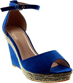82b5deba42619 Angkorly - Chaussure Mode Sandale Mule Peep-Toe lanière Cheville Plateforme  Femme Corde lanière Talon