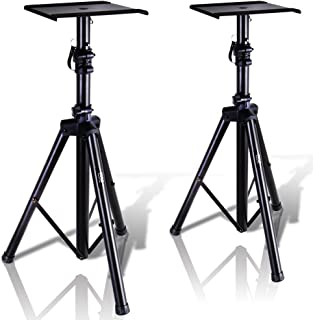 """Pyle Dual Studio Monitor 2 Speaker Stand Mount Kit - Heavy Duty Tripod Pair and Adjustable Height from 34.0"""" to 53.0"""" w/ M..."""