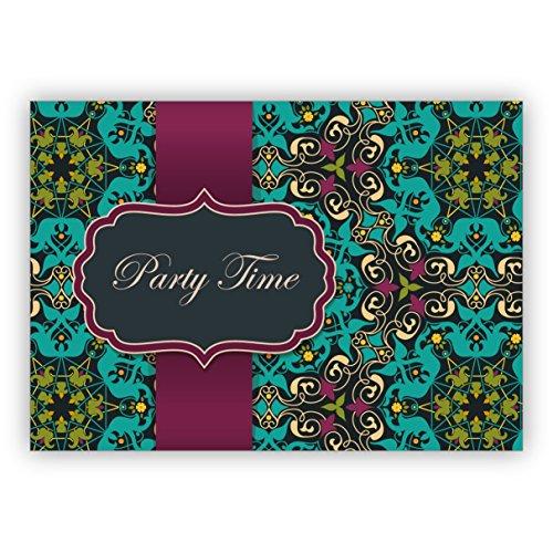 Elegante Einladungskarte für Geburtstags Fete, Abi Feier, Geburtstags Fest mit arabischem Muster im orientalischen Stil, hellblau türkis: Party time • mit Umschlag um Freunde und Familie einzuladen