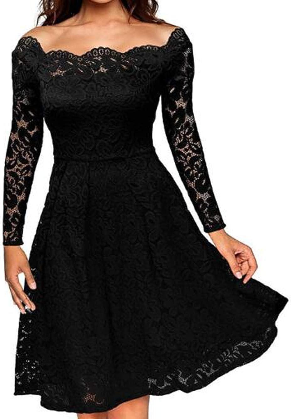 Women's Lace A Line High Waist Swing Dress Printing Cocktail Prom Princess Dress