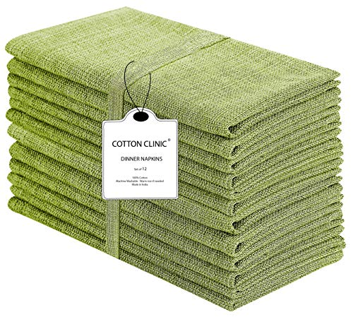 Cotton Clinic Grass-Cloth Dinner Napkins – Perfect Everyday Use Table Linen – Soft Durable Washable – Ideal for Party Wedding Farmhouse Christmas Easter – Set of 12 (20x20 in/Green)