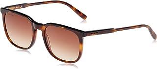 LACOSTE EYEWEAR Men's Sunglasses Rectangular LA STRIPES & PIPING LIGHT HAVANA/BLACK