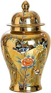 LJYY Florero de cerámica Decorativo Moderno con Tapa Florero de Jengibre Floral Jarrones de Flor Dorada Floreros Decoració...