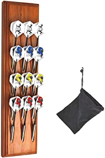 Wall Mount Wood Darts Holder/Stand/Caddy Display, Holds 12 Steel/Soft (Plastic) Tip Dart. Game Room, Man Cave, Home Bar Decor, This Wooden Rack Perfectly Matches The Cabinet to Your Board/Scoreboard