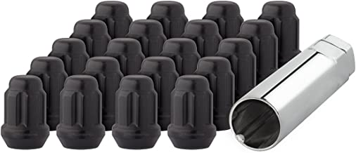 TRIBLE SIX 20 Pcs 14x1.5mm Wheel Spike Lug Nut with 1 Socket Key 4.5 Tall Black Closed End Nuts fit for 1988-1998 Chevy 1992-1998 GMC 2006-2017 Dodge