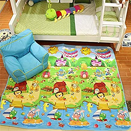 Zofey Play mat Baby mats Waterproof Double Side Big Soft (6 Feet X 5 Feet) Crawl Floor Matt for Kids Picnic School Home Large Size with Zip Bag to Carry