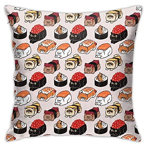 Lewiuzr Funda De Cojín,Gato Sushi,Funda De Almohada Moderna Cojín Cubierta Decoración para El Hogar,45 x 45 cm