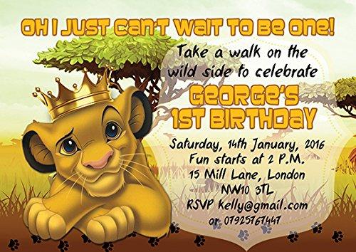 10 x le Roi Lion personnalisé enfants Fête d'anniversaire Invitations ou cartes de remerciement
