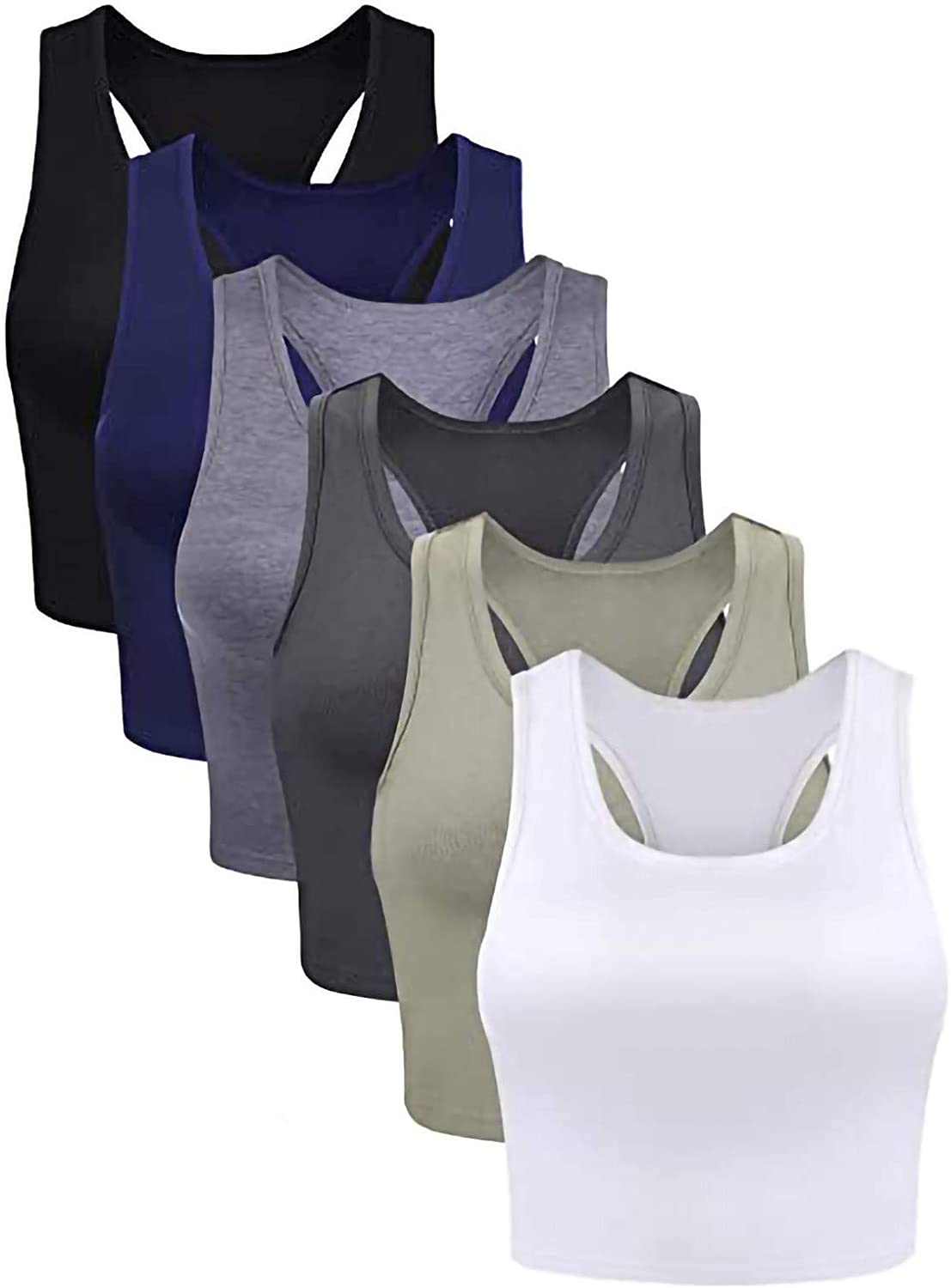 Lucksoon Women's Tops 6 Pieces Basic Solid Color Vest Sports Crop Daily Wearing