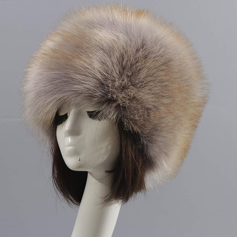 vannawong Women Faux Fur Hat Cossack Fluffy Ear Muffs Russian Bucket Pillbox Headwear Headbands Winter Cozy Headwrap