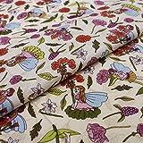 Hans-Textil-Shop Stoff Meterware Blumen Elfen Fee Baumwolle