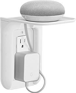 WALI Wall Outlet Shelf Standard Vertical Duplex Décor Outlet with Cable Channel Charging for Cell Phone, Dot 1st and 2nd 3rd Gen, Google Home, Speaker up to 10 lbs (OLS001-W), White, 1 Pack