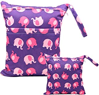 iZiv 2 Pack Baby Waterproof Reusable Wet Dry Bag, Nappy Bag, Reusable Wet Suit Bag, Waterproof Washable Hanging Large Diap...