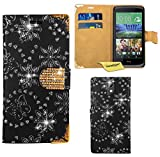 HTC Desire 526G Handy Tasche, FoneExpert® Bling Luxus Diamant Hülle Wallet Hülle Cover Hüllen Etui Ledertasche Premium Lederhülle Schutzhülle für HTC Desire 526G (Schwarz)