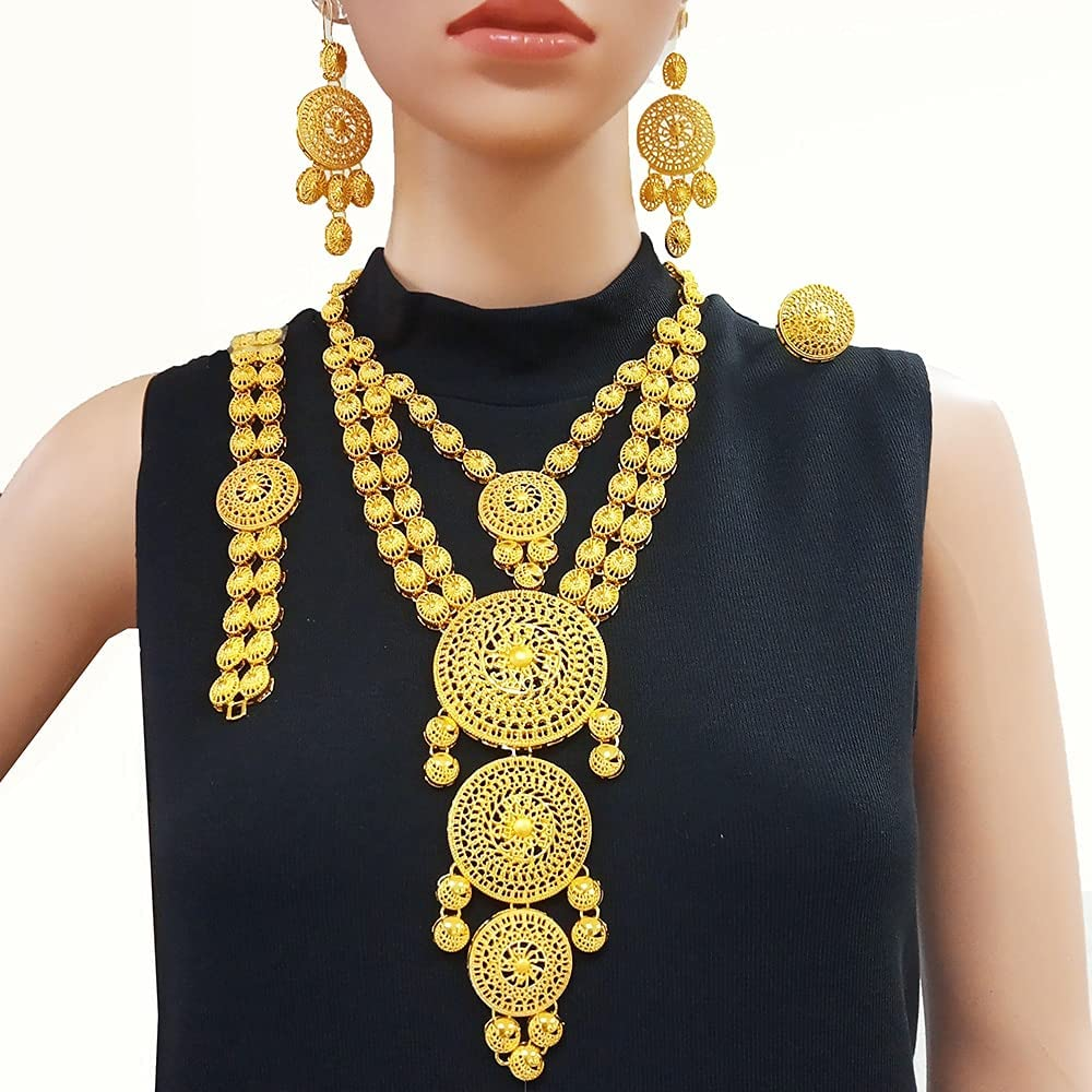 chenfeng Jewelry Set Sets Indian Gold Necklace Jewelry for Women African Wedding Gift luxry Accessories (Metal Color : BJW21)