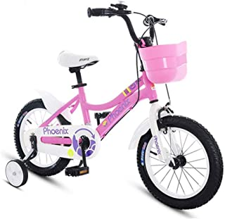 """TWTD-TYK Kid's Bike,Children's Bike, Pink Toddler Training Bike for 2-9 Years, in Size 12"""" 18"""" Steel Frame Children Bicycle with Auxiliary Wheel"""