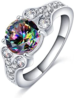 Women's Round 4 Prong CZ Multicolor Channel Pave Shared Split Shank Platinum Plated Bands Wedding Rings