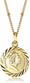 Hermah Gold Plated Coin Charm Queen Elizabeth Pendant Necklace for Women Girls Elegant Vintage Circle Disc Dainty Necklace