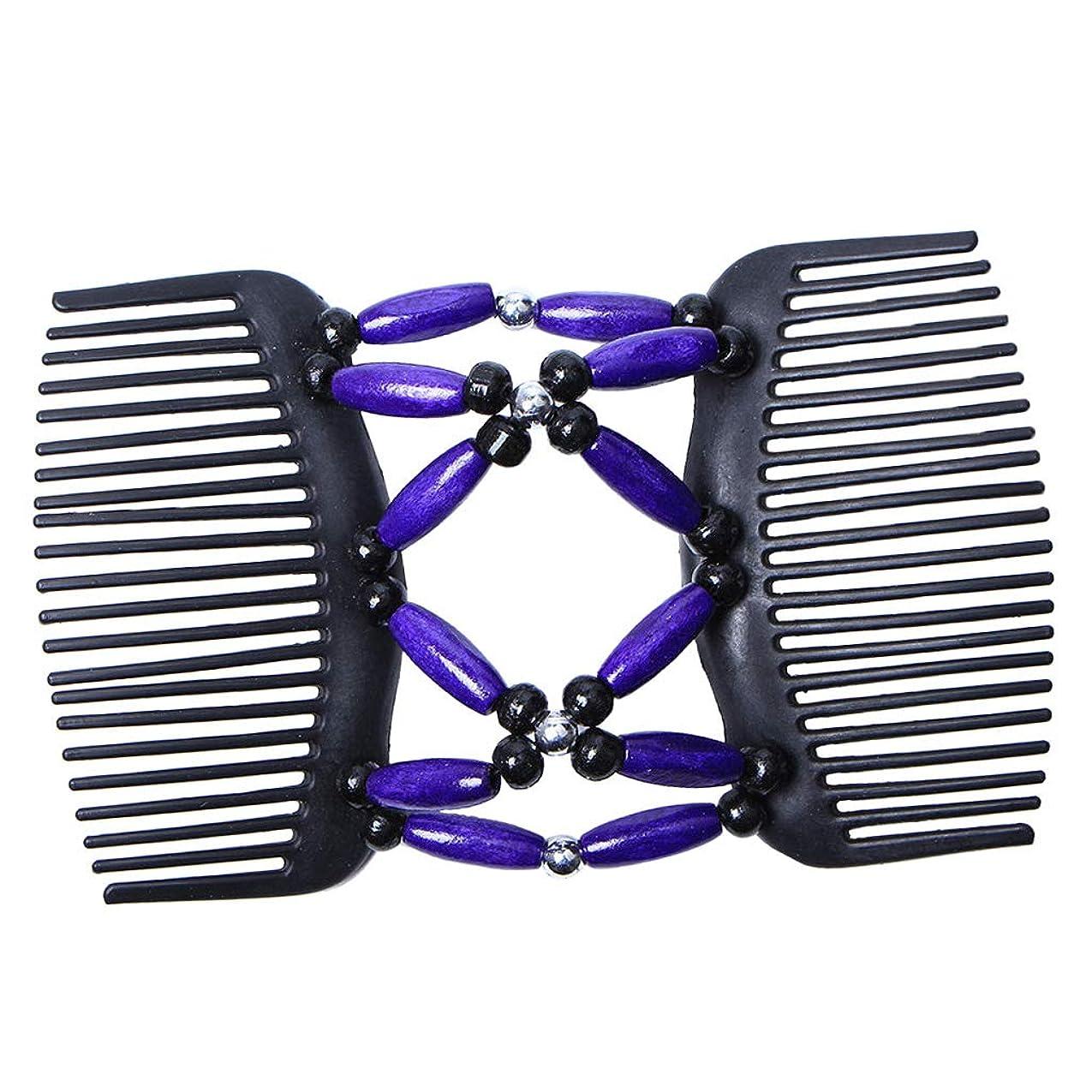 範囲構築するオークションBaoblaze ウッドビーズ ヘアブラシ 髪櫛 ヘアクリップ ダブルコーム レディース 髪型ツール ストレッチ ヘアスタイル - 紫
