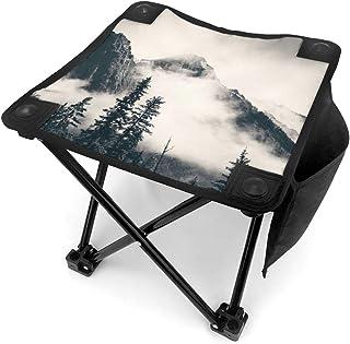 アウトドア 椅子 バンフ国立公園の霧の山 アウトドア 椅子 ピクニック 釣り コンパクト イス 持ち運び キャンプ用軽量 収納バッグ付き 折りたたみチェア レジャー 背もたれなし