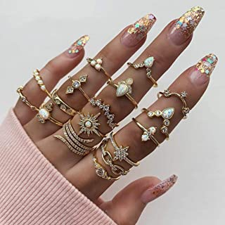 Simsly Boho Kunckle Ring Stackable Rhinestone Gold Joint Nail Ring Crystal Knuckle Rings Set for Women and Girls(17PCS)
