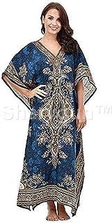 Sharvgun Women's Long Kaftan, V-Neck Kimono Tunic, Drawstring Gown Nightdress Beach Kaftan Casual Dress One Size/Free Size