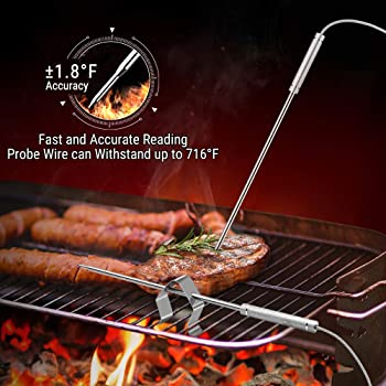 ThermoPro TP08S Wireless Digital Meat Thermometer for Grilling Smoker BBQ Grill Oven Thermometer with Dual Probe Kitc...
