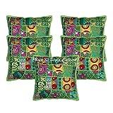 Stylo Culture Indian Throw Pillow Covers Green Vintage Patchwork Fabric Living Room Throw Pillows Funda de cojín Cotton Square Floral Tradicional Cojines de 40x40 cm Cojines (Juego de 5 Piezas)